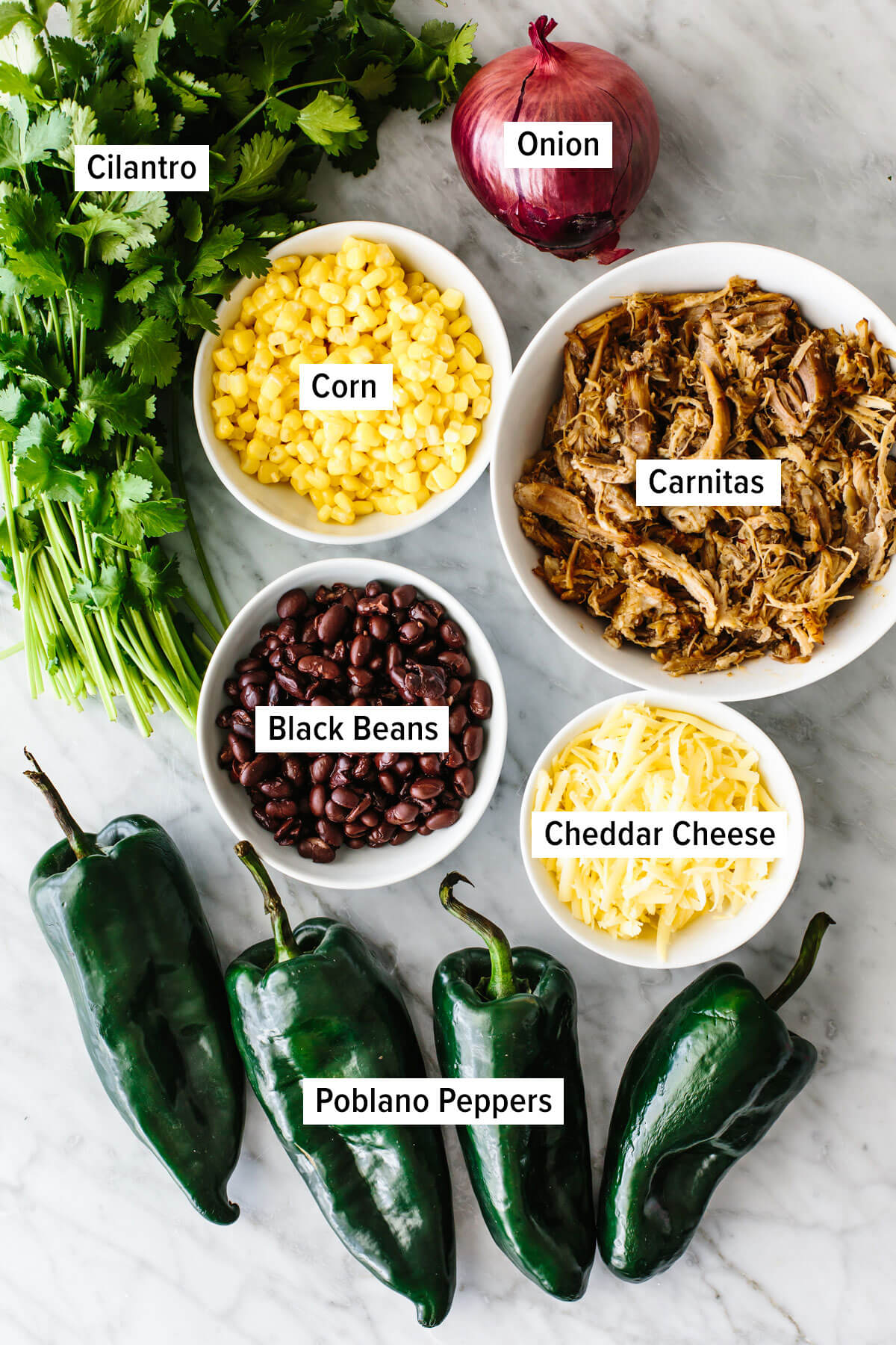 Ingredients for carnitas stuffed poblano peppers on a table.