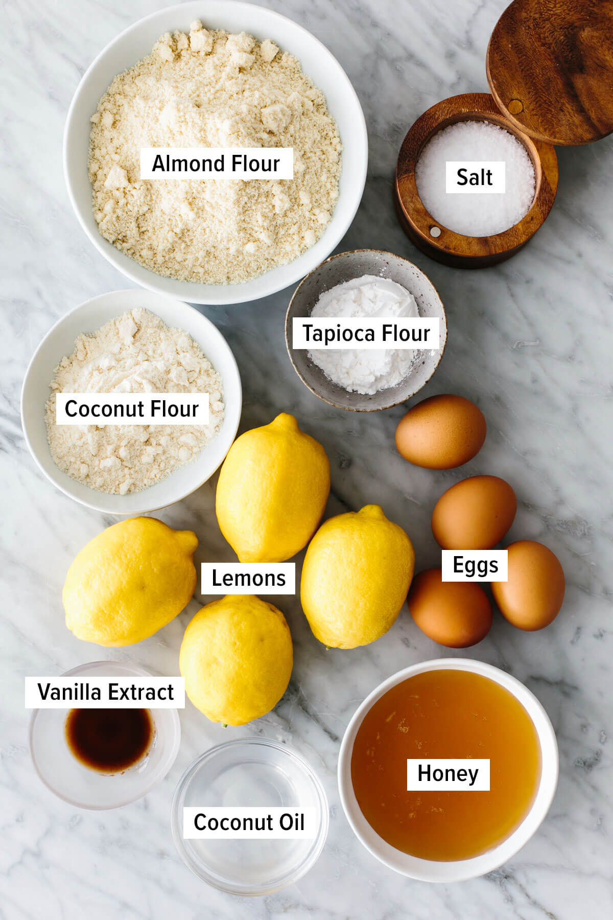 Ingredients for gluten-free lemon bars on a table.