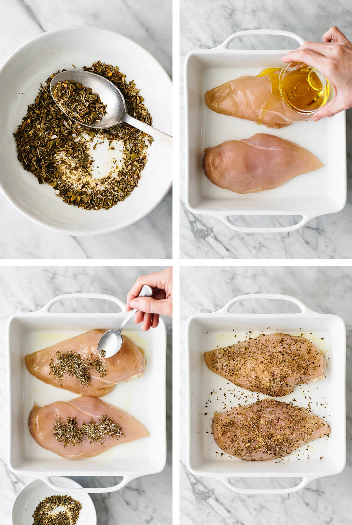 Adding herb seasoning onto herb baked chicken breasts.