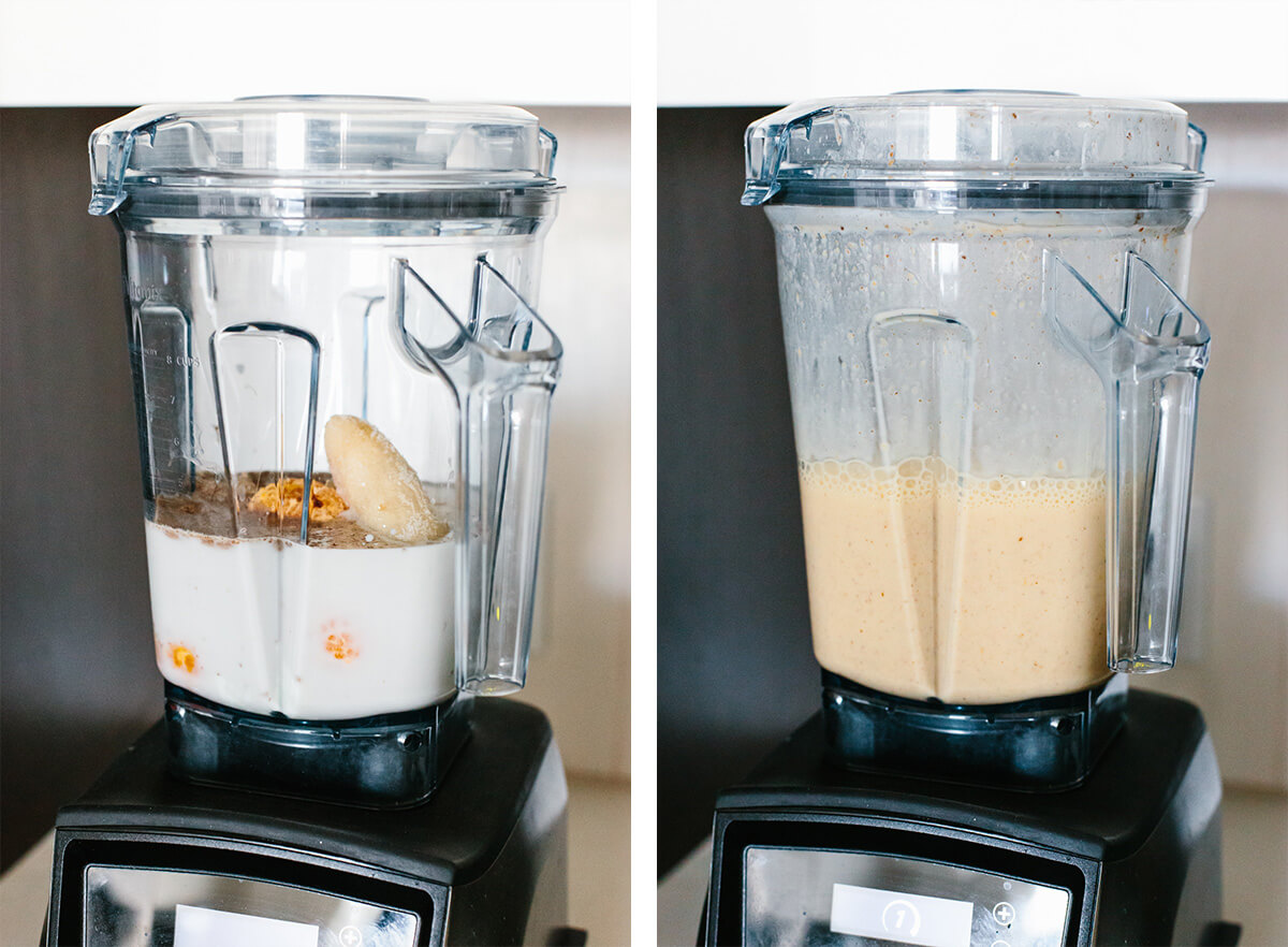 Blending a mandarin breakfast smoothie in a Vitamix.