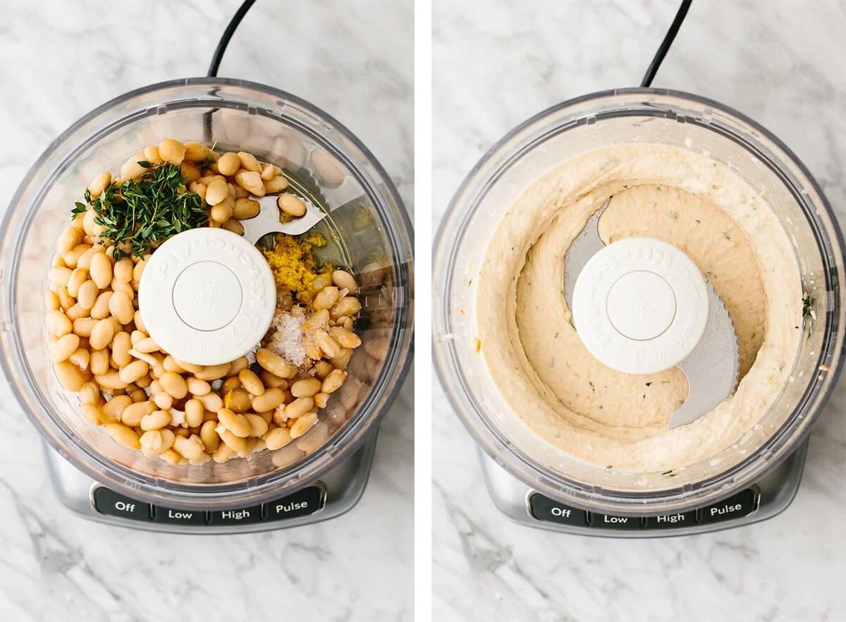 Blending white beans in a food processor for a white bean dip.