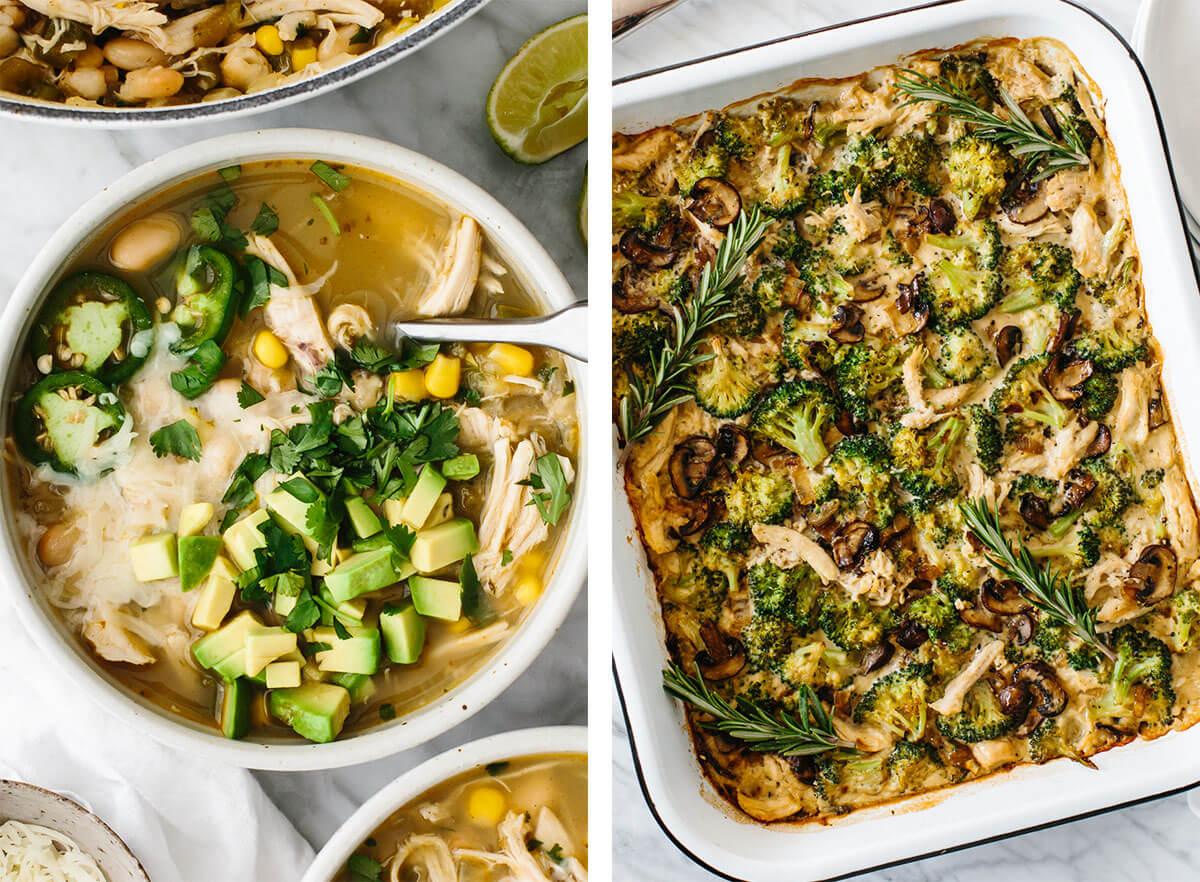 Chicken breast recipes including white chicken chili and chicken casserole.