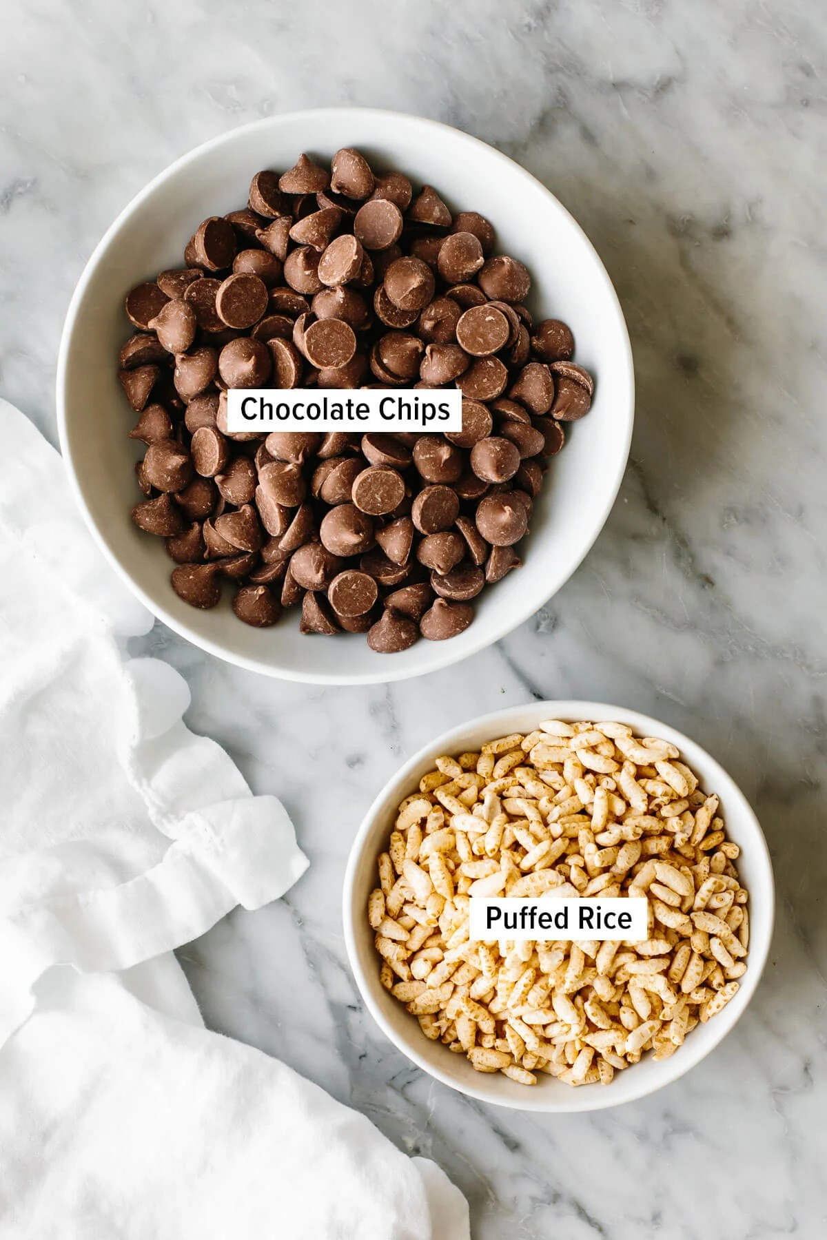 Ingredients for chocolate crunch bars on a table.