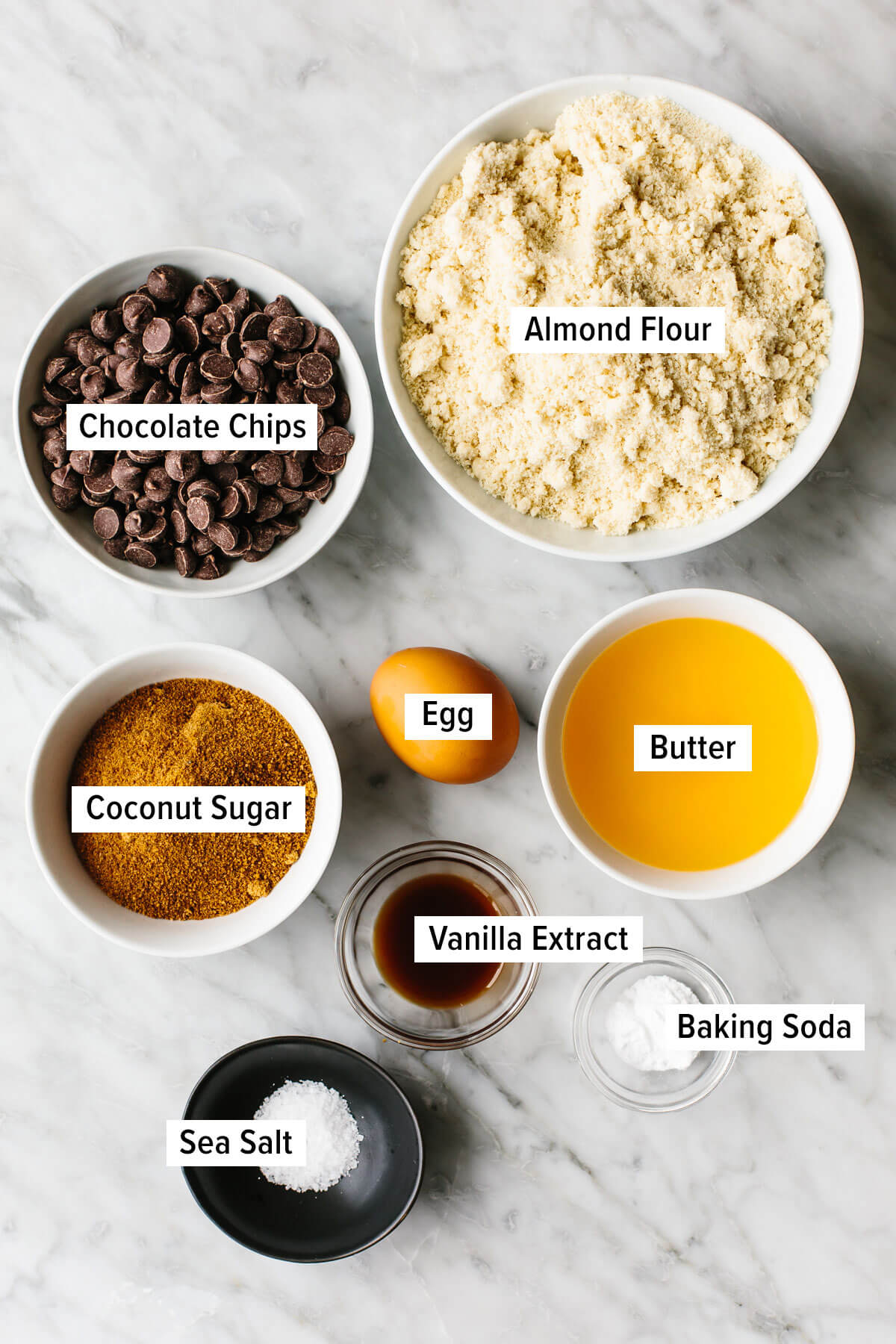 Ingredients for gluten-free chocolate chip cookies on a table.