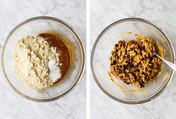 Stirring gluten-free chocolate chip cookie ingredients in a bowl.