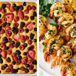 Best memorial day recipes with grilled shrimp and berry sheet cake.