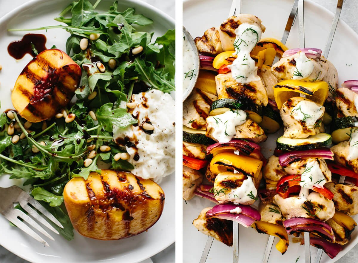 Memorial day recipes with grilled kabobs and grilled peach.