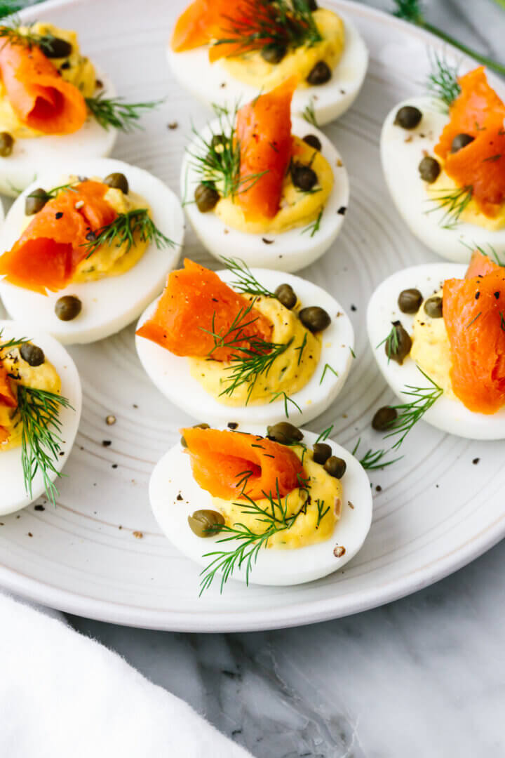 A plate of smoked salmon deviled eggs