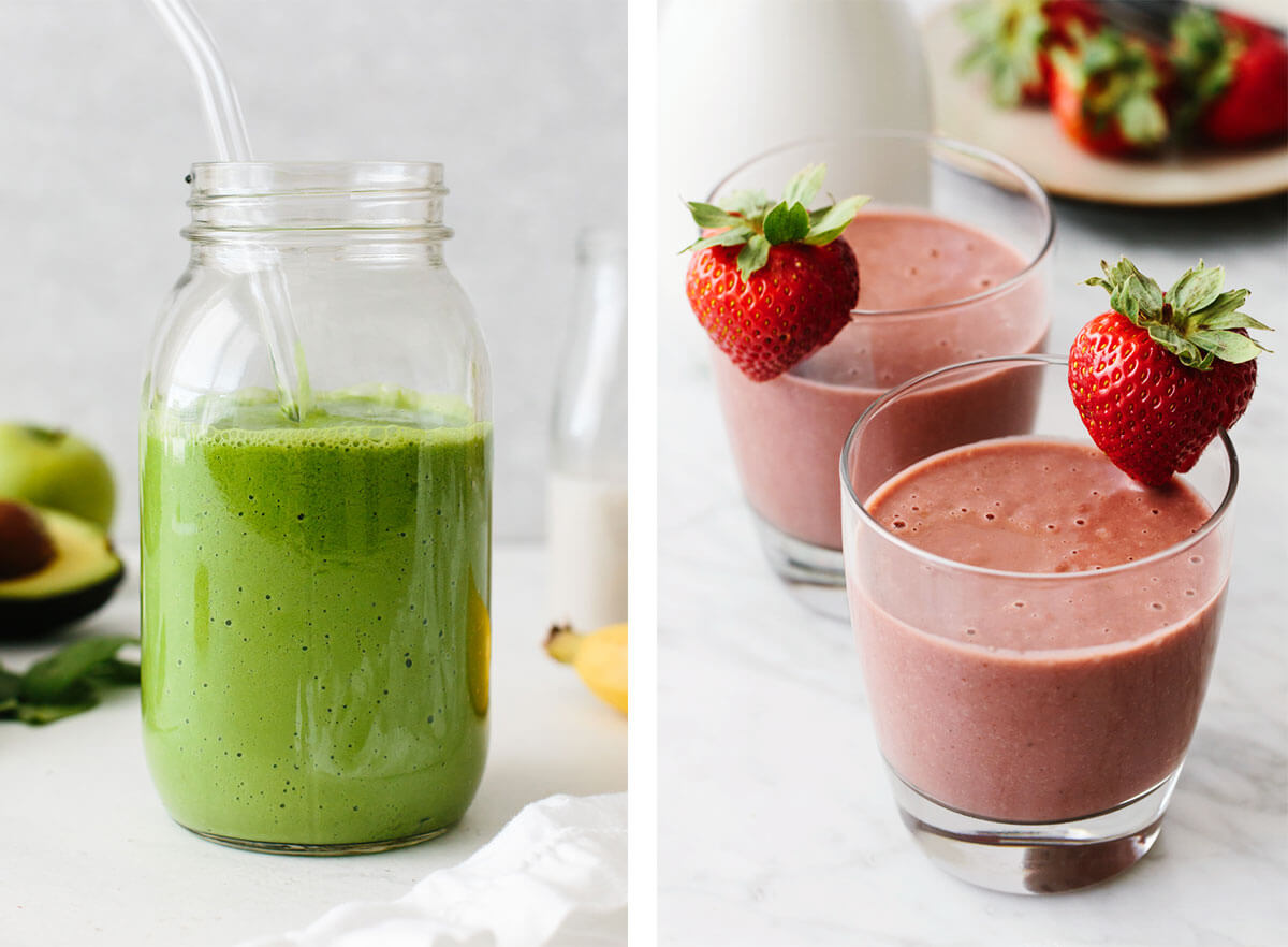Vitamix recipes with a green smoothie and strawberry smoothie