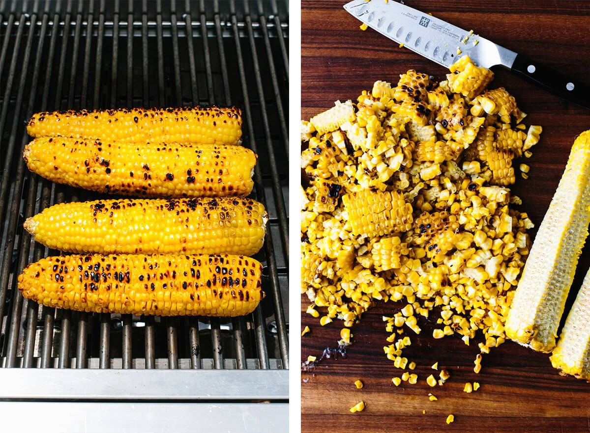 Grilling corn on the cob for corn salad