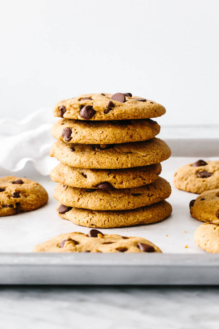 A stack of gluten-free chocolate chip cookies.