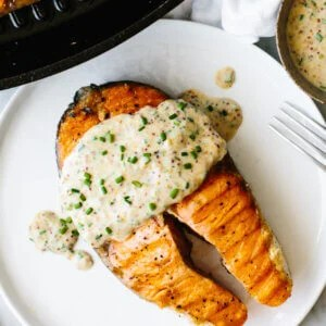 Best grilled salmon steak with mustard chive sauce