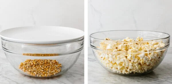 Microwave popcorn in a bowl