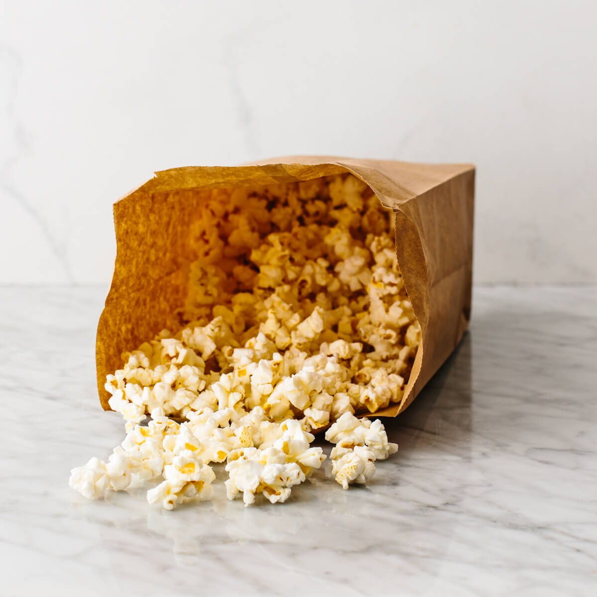 A bag with microwaved popcorn in it