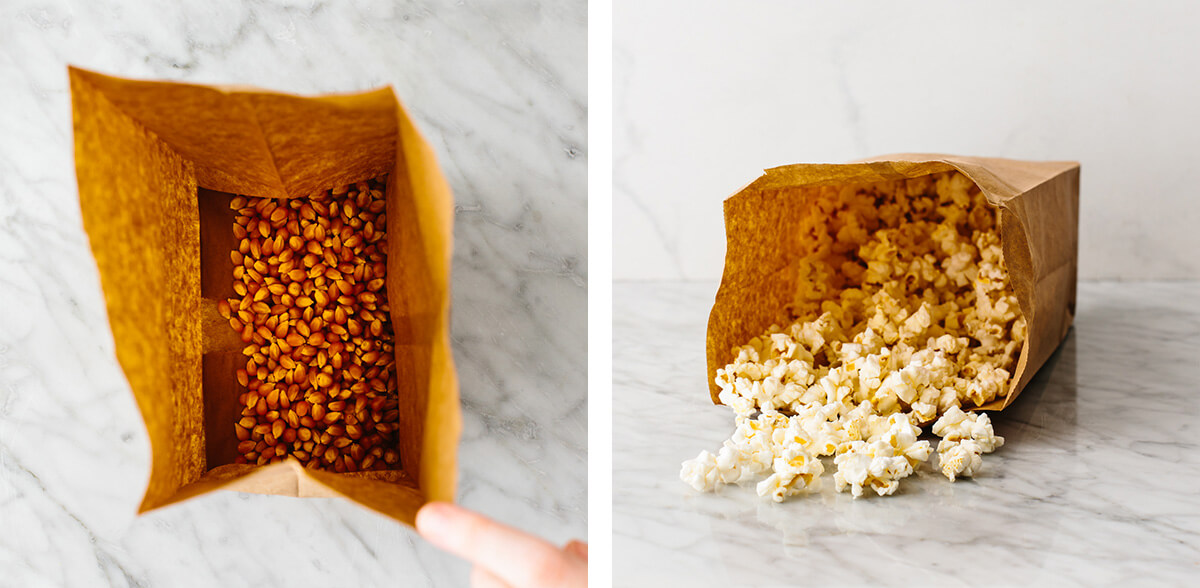 Making microwave popcorn in a paper bag