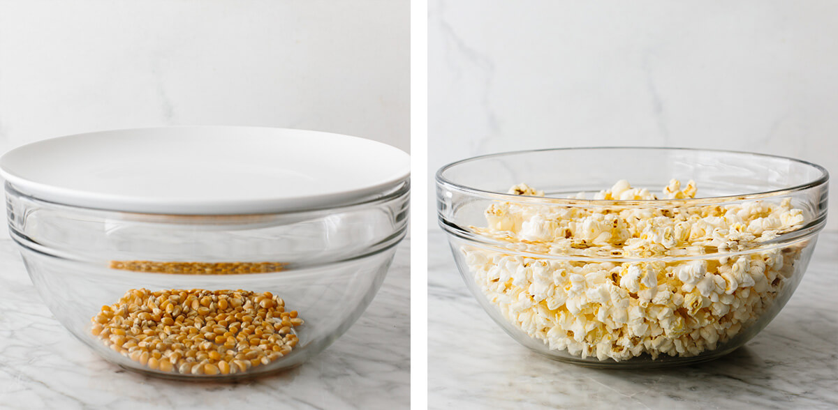 Making microwave popcorn in a glass bowl.