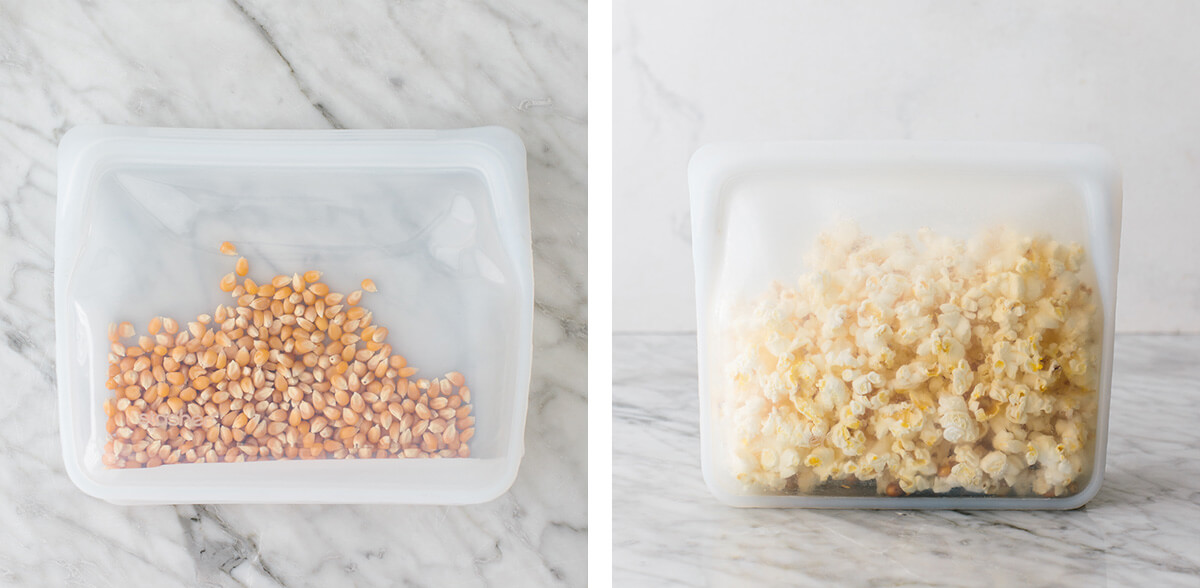 Making microwave popcorn in a silicone bag.