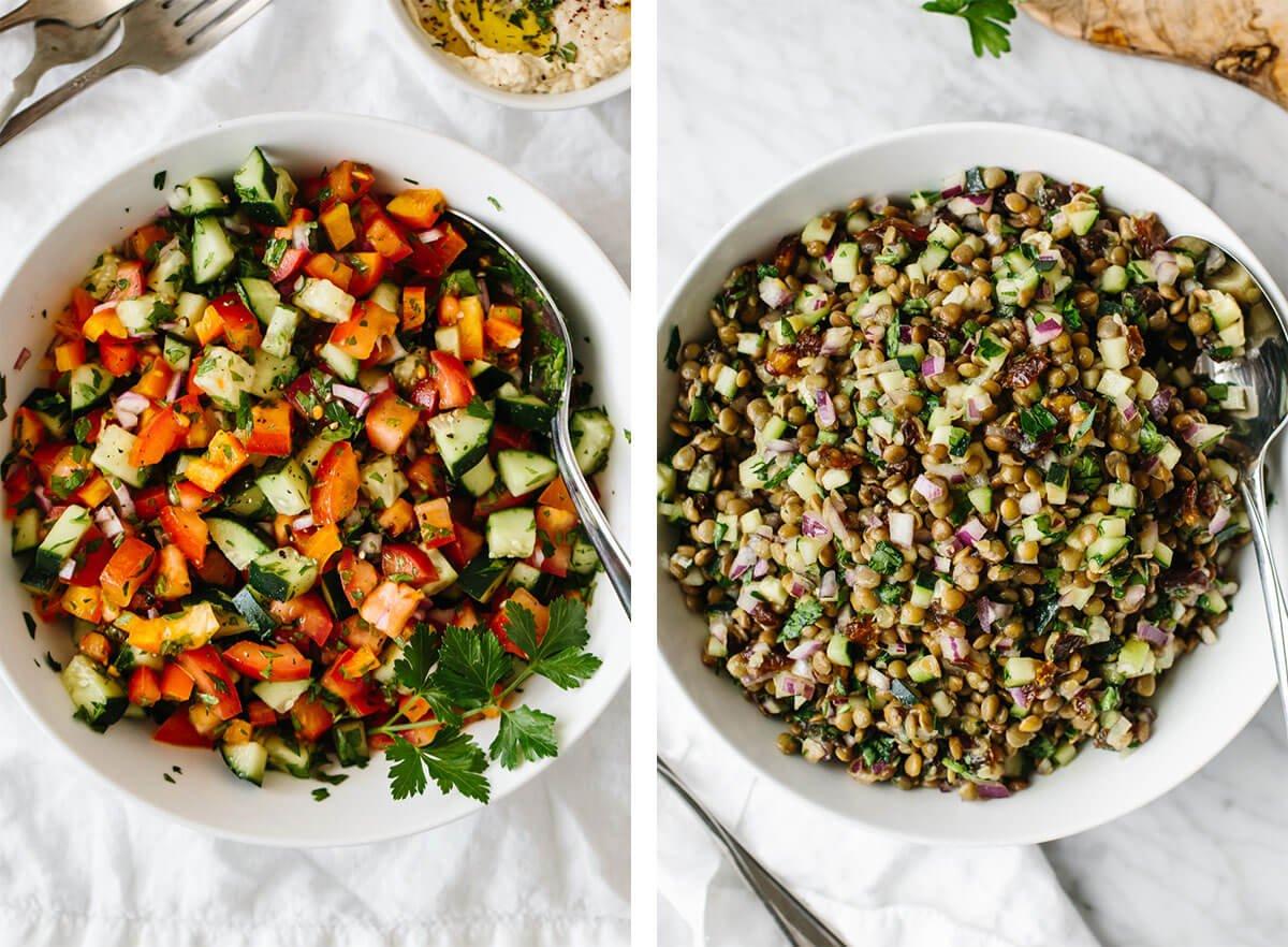Salad recipes with israeli and lentil salad