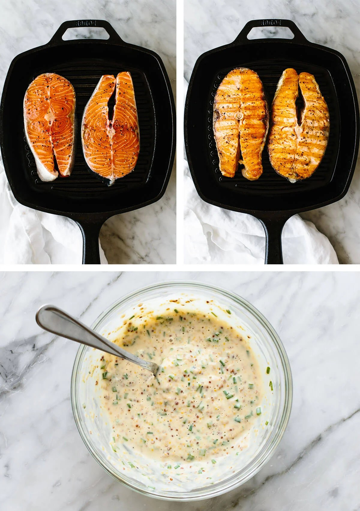 Grilling salmon steaks on a grill.