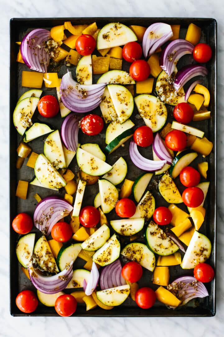 Vegetables on a sheet pan for Greek