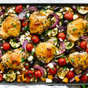 Greek sheet pan chicken with vegetables