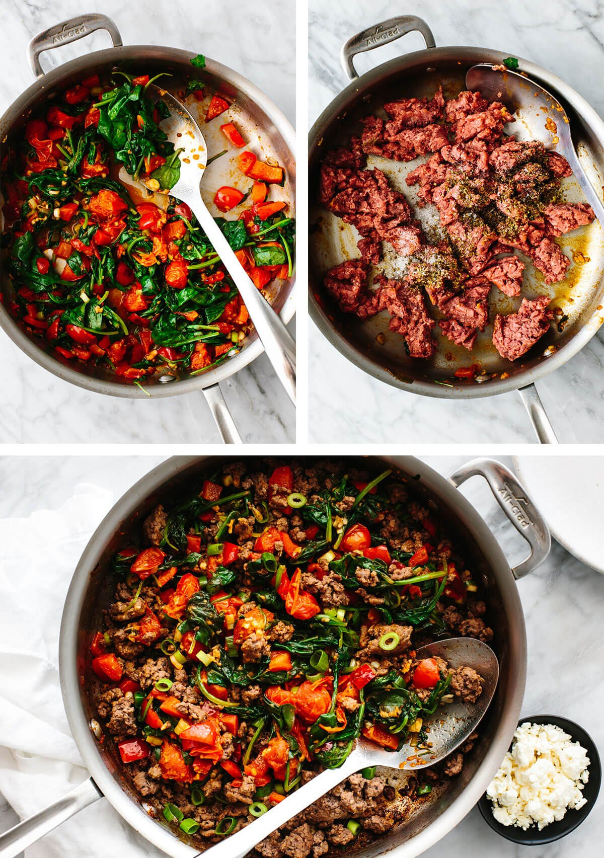 Cooking Mediterranean ground beef stir fry in a pan.