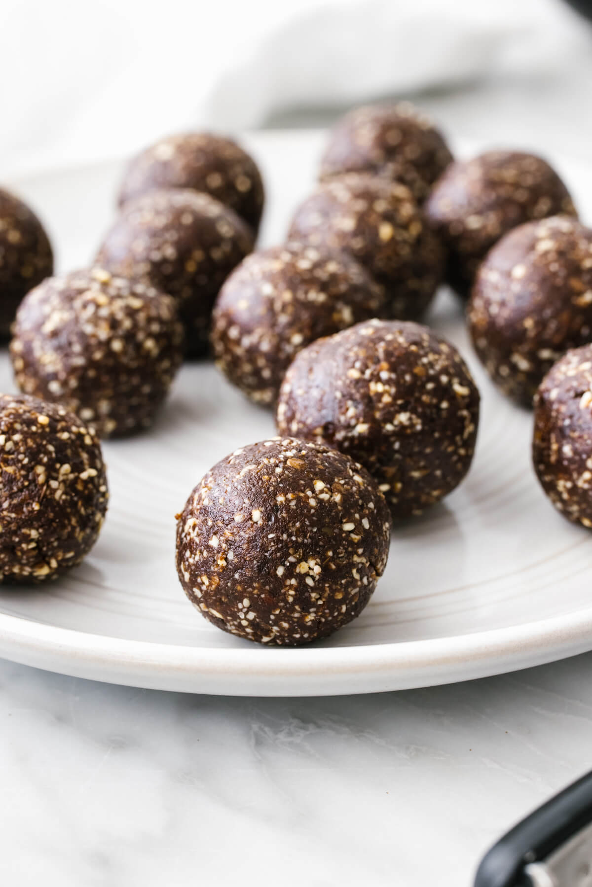A plate of mint chocolate energy balls