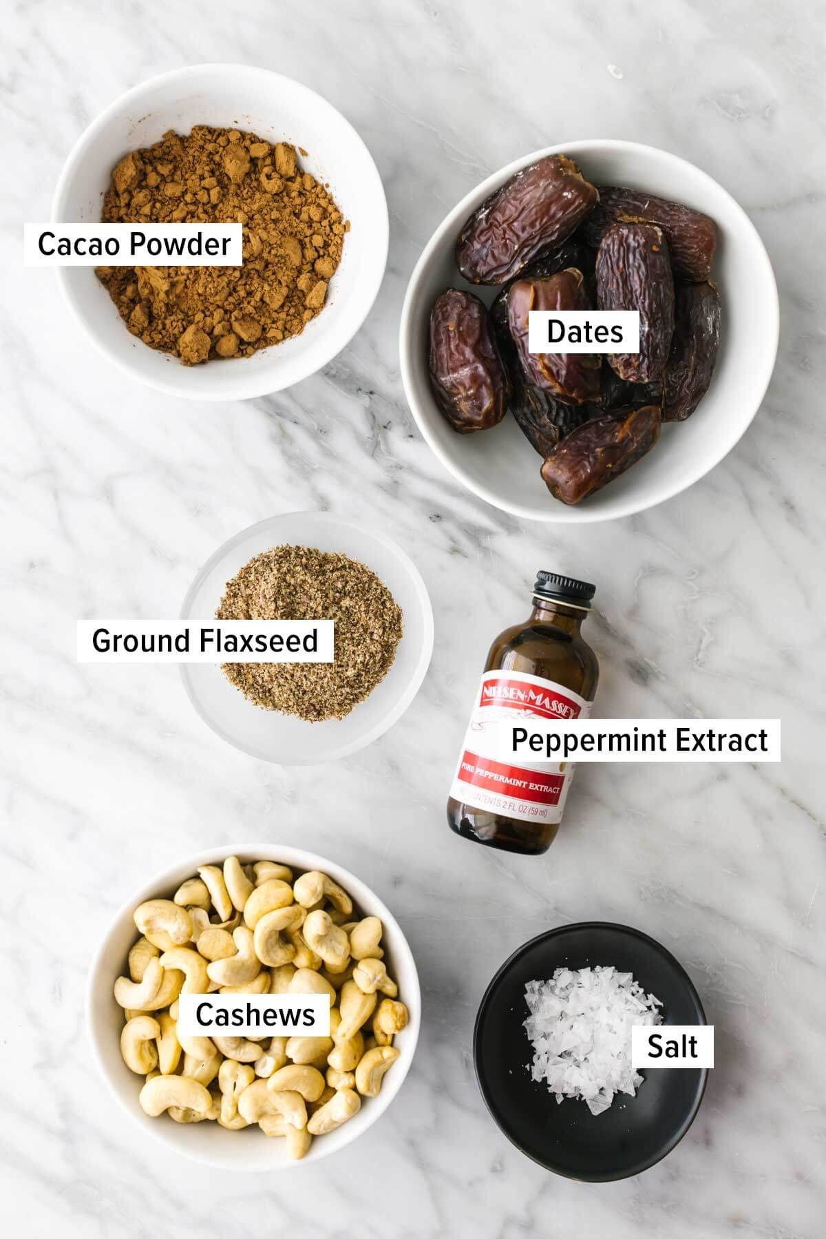 Ingredients for mint chocolate energy balls on a table.