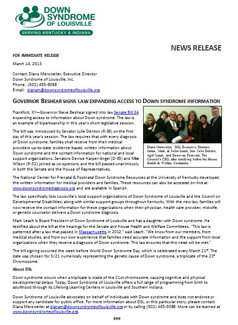 Down Syndrome of Louisville Senate Bill 34 Press Release