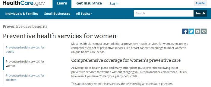 ACA preventive care for women