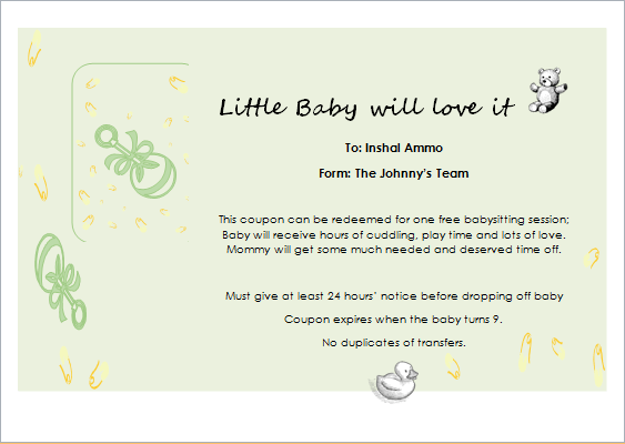 Babysitter Gift Certificate Template For Word Document Hub