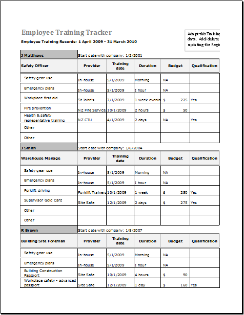 Employee Training Tracker Template For Excel Document Hub