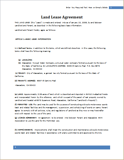 Land Lease Agreement Template For Word Document Hub