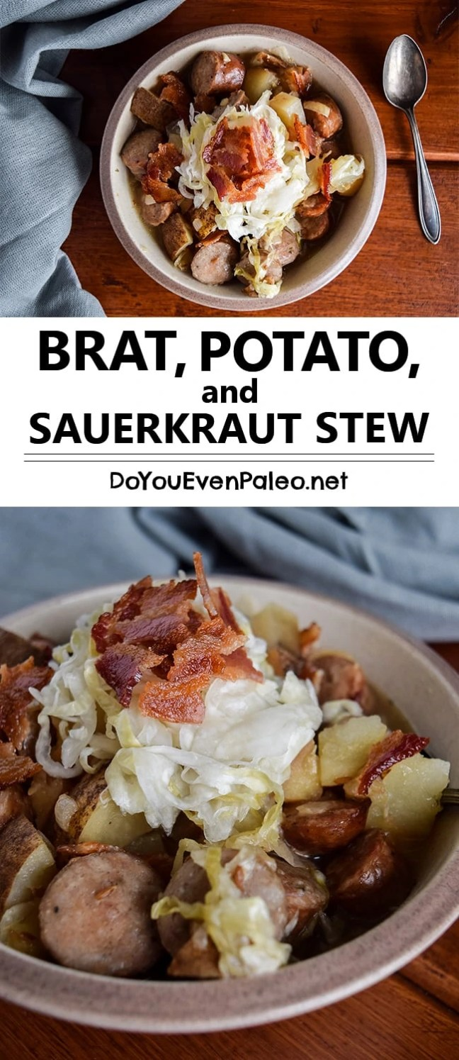 Brat, Potato, and Sauerkraut Stew - warm, comforting meat-and-potatoes crockpot meal that's perfect for chilly winter nights | DoYouEvenPaleo.net