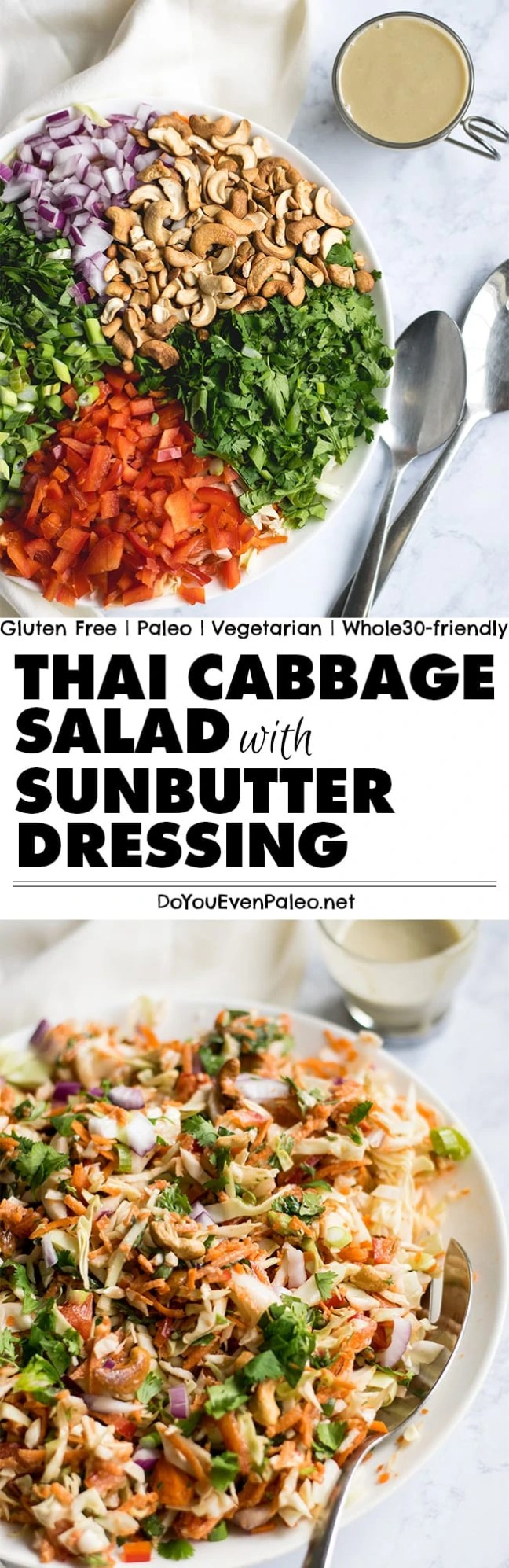 Crunchy, fresh, veggie-licious Thai Cabbage Salad with Sunbutter Dressing - paleo, gluten free, vegetarian, and Whole30-friendly! | DoYouEvenPaleo.net