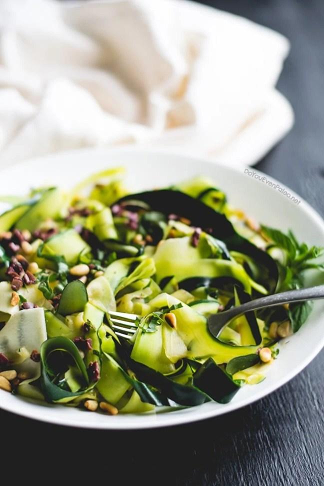Sautéed Zucchini Noodles with Basil, Pine Nuts, and Olives | DoYouEvenPaleo.net