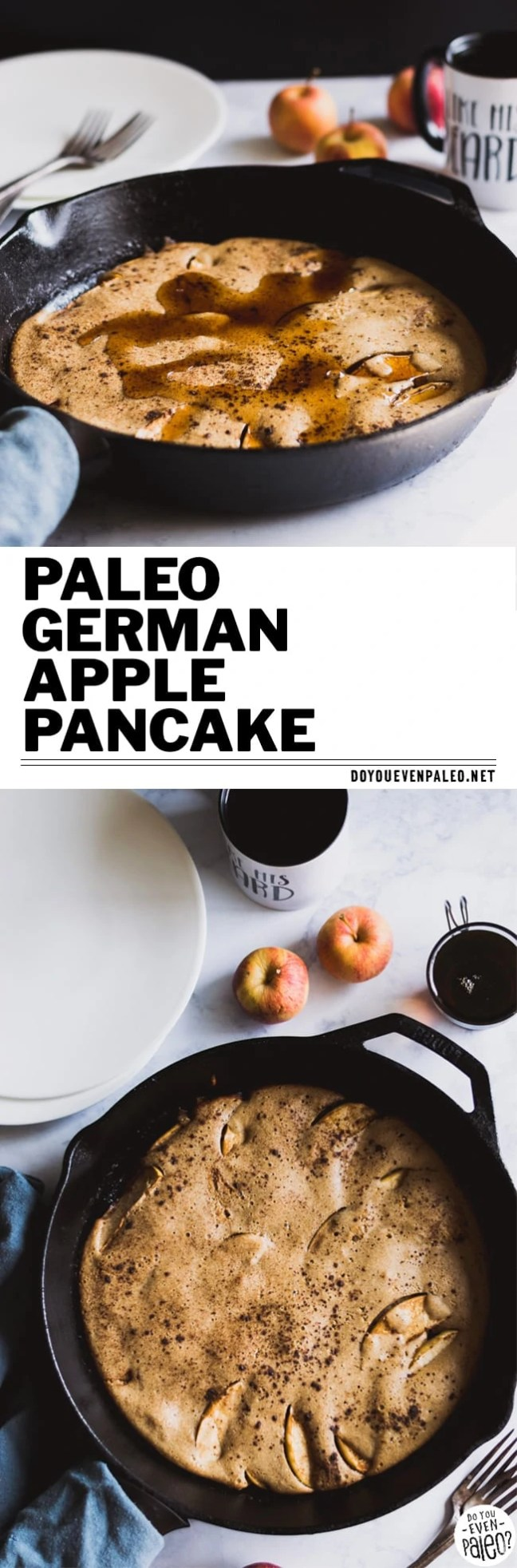 Paleo German Apple Pancake - don't hover over the stove flipping pancakes for breakfast, make one mega pancake instead! It's grain free, gluten free, and nut free. | DoYouEvenPaleo.net