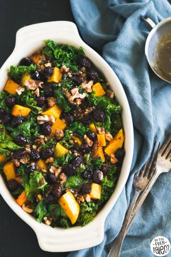 Warm Paleo Kale & Butternut Squash Salad with Cranberries & Walnuts   DoYouEvenPaleo.net