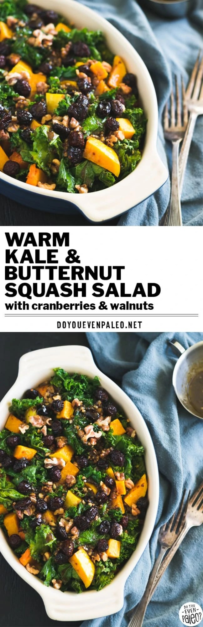This simple warm kale & butternut squash salad will not disappoint! Packed with fall flavors, it makes a nourishing and colorful side dish.   DoYouEvenPaleo.net #paleo #glutenfree #salad #kale