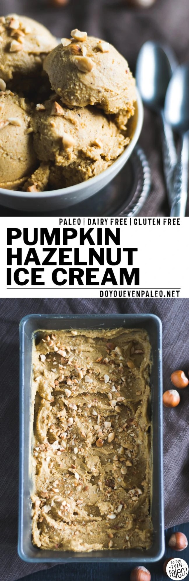Pumpkin and hazelnut make a stunning pair. Revel in the warm days of fall with this dairy free pumpkin hazelnut ice cream! | DoYouEvenPaleo.net #paleo #glutenfree #dairyfree #pumpkin #doyouevenpaleo