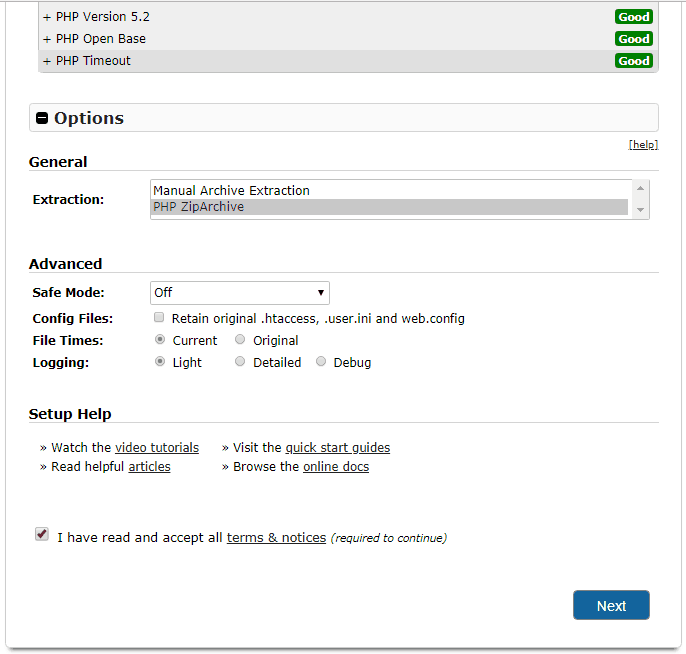 Duplicator step 1b Deployment bottom page
