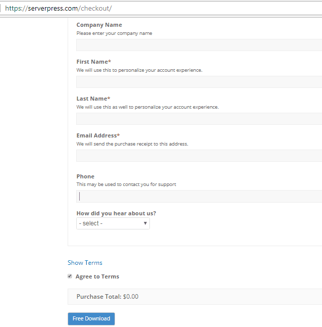 ServerPress step 3 checkout free version