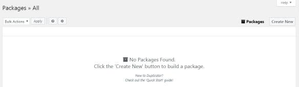 WordPress step 4 create new package on duplicator plugin