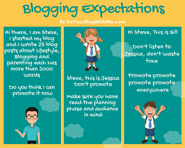 comic on blogging expectations between different bloggers - how to start a successful blog