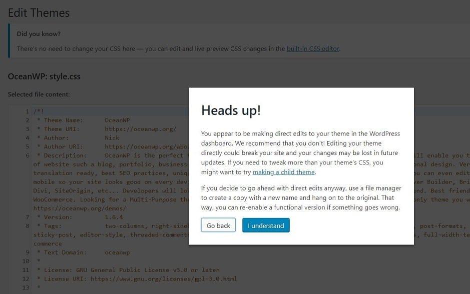Theme editor warning in WordPress