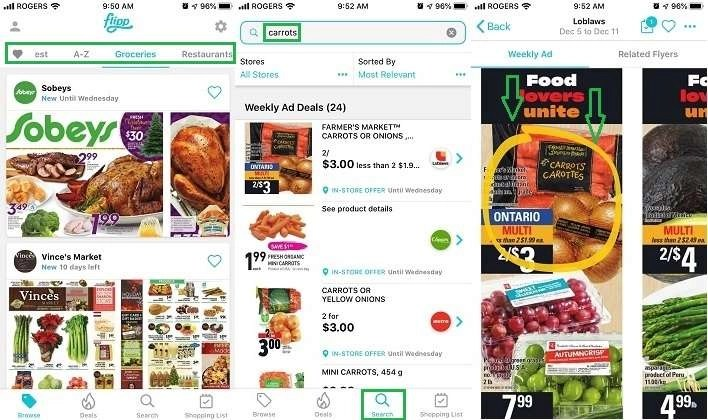 Flipp mobile app searching for prices to save money on grocery