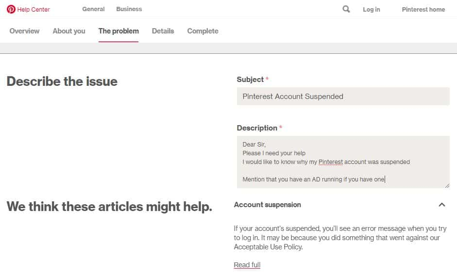 Describe the problem in details - Pinterest account suspended process