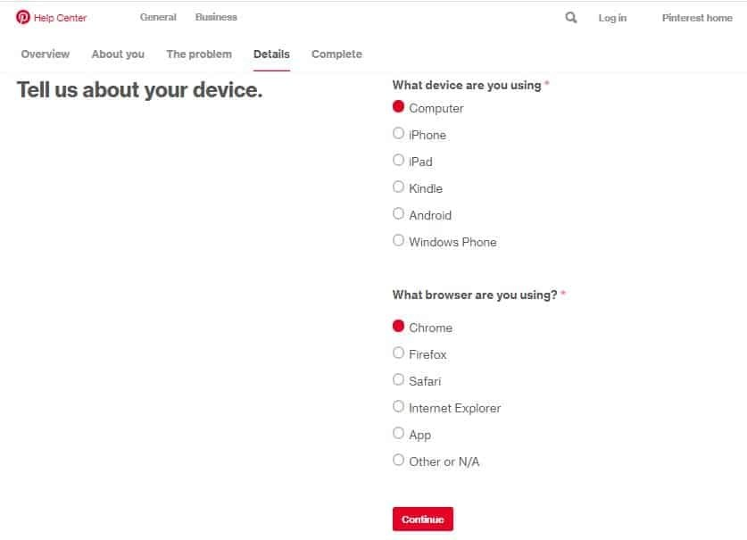 Pinterest collecting device details