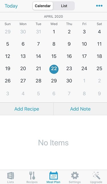 AnyList - meal planning