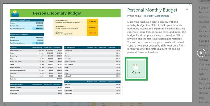 Excel lists all type of budget templates